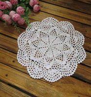 Wholesale 25cm table decorations coaster crochet doilies lace placemats White Beige Handmade