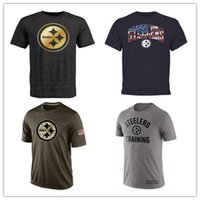 Wholesale Steelers T Shirts cheap rugby football jerseys Pittsburgh Salute To Service Banner Wave Black Gold Collection Tshirts