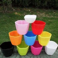 Wholesale 4pcs Flower pot Planters Multicolor Plastic Nursery pots Flowerpot with tray Bonsai garden supplies