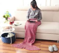 Wholesale Mermaid Tail Cosplay Children Women Men Winter Warm Mermaid Tail Costume Handmade Knit Blanket cm Big size with Colors