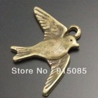 antique style diamond pendant - Antique Style Bronze Tone Alloy Flying Bird Pendant Charm Jewelry Finding pendant settings for diamonds