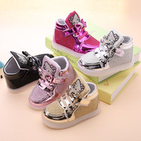 baby plastic boot - new children lighted casual shoes high rhinestone hello kitty shoes for girls baby kids shoes mesh travel shoes girls boots