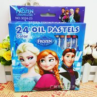 Wholesale Children Frozen Crayons Colors Washable Non poisonous Oil Pastels Kids Draw Cartoon Princess Elsa Crayons