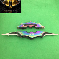 aluminum fish bat - BATMAN Rainbow Dual Blade Spring Double Bat Man Knife Stainess steel