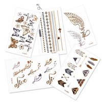 Wholesale Temporary Tattoo Non Toxic Waterproof Gold Stamp Body Art Tattoo Paste Styles Mixed Fashion Women Sexy Tattoo Stickers TA001