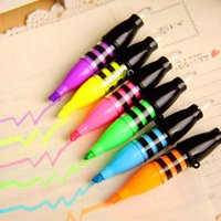Wholesale 6 Highlighter Colors Pens DIY Drawing Marker Pen Stationery Office Material School Supplies School Christmas Gift Papelaria
