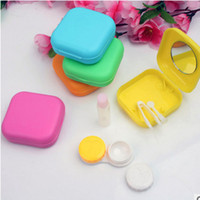 Wholesale 2016 Porfessional Pocket Mini Contact Lens Case Travel Kit Easy Carry Mirror Container Holder
