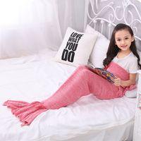 Wholesale New Arrival Yarn Knitted Mermaid Tail Blanket Super Soft Sleeping Bed Wrap Throw Blanket Kids Adults Lap Blanket