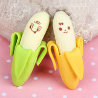 >3 years Design Fantastic Free Shipping 20Pcs Banana Fruit Pencil Eraser Rubber Erasers Cute Prize Gifts Office & School Supplies Papelaria