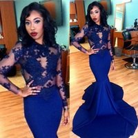 Wholesale 2016 Navy Blue Long Lace Prom Dresses Sheer O neck Applique Long Sleeve Floor Length Stretch Satin Mermaid Evening Dresses Arabic BA1820