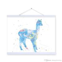 alpaca art - Original Watercolor Kawaii Grass Mud Horse Kids Room Modern Abstract Wall Art A4 Large Alpaca Poster Prints Canvas Painting Gift
