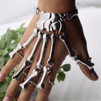 Wholesale 2017 Colors Moving Joints Metal Skeleton Hand Bracelet finger Ring