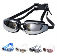 big pack glass - men women swimming glasses Racing Goggles Waterproof HD anti fog goggles big box plain glass goggles plating myopia And box packing