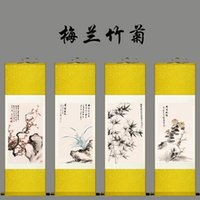 Wholesale Dragon Art Decorative Plum orchid bamboo chrysanthemum Panels Modern Contemporary Artwork Silk Painting on Canvas Wall Art for Home Decor