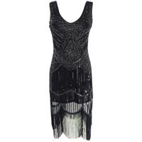 Wholesale Women s Great Gatsby Flapper Dress Sequin Fringe Silver Embroidery Midi Dress Large Size Sheer Winter Dress Vestido De Festa