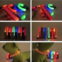 basic animals - LED Leopard Pet Dog Collars Adjustable Flashing Stripe Nylon Night Glow Light Up Training Leashes Colorful Dog Supply New Christmas gift