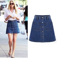 Cotton Solid Free 2016 new summer style women jeans denim skirt high waist button denim skirt female saia feminina A-line jeans skirt plus size