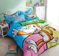 Wholesale 2016 Fashion Cheap set Nursery Bed Animal Cartoon doll Pure cotton Bedding Sets Queen Size Duvet Cover Bed Sheet