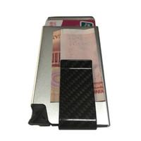 aluminum money clip - RFID Blocking Safe Aluminum Credit Card Holder Wallet with Carbon Fiber Money Clip Wallet