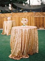 Wholesale Gold Sequin Round Table Cloth Sparkly Champagne Tablecloth Elegant Wedding Sequin Table Linens Cheap Diameter cm Table Cloth