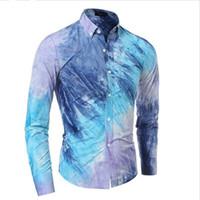 batik dyes - Brand Men S Fashion Chemise Homme Multi Style Tie Dye Chemise Homme Slim Fit Men Shirt Casual Camisa Masculina XXL