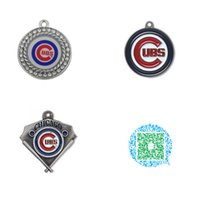 Wholesale Pieces Rhodium or Antique Silver Plated Chicago Cubs Baseball Charms Pendant Jewelry