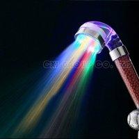 Wholesale Colors Change Led shower Tourmaline SPA Anion Hand Held Bathroom Led Shower Head Filter Hand Shower Saving Water