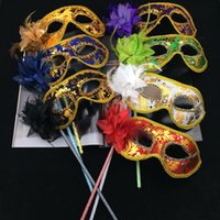 Wholesale New Party Masks Gold Cloth Coated Flower Side Venetian Masquerade Party Mask On Stick Carnival Halloween Costume Mix Color