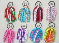 Wholesale 200pcs inch Xmas Girl pony O A korker Ponytail holders various color ribbons streamers corker hair bows with elastic hair bobbles
