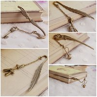 Wholesale Creative Metal Bookmarks Vintage Bronze Bookmark Key And The Mermaid Feathers And Deer Flagon Three Paragraph E660L