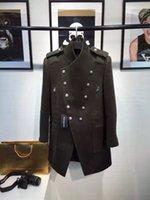 Men s woolen coat Preços-2016 Novo Outono Outono do inverno casaco morno casaco de lã de revestimento casaco de exército Casaco verde militar homens blazer