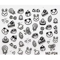 animal cake designs - Black White Cartoon Animal Design Rhinestone D Nail Sticker Style Cake Buttrfly Pattern D Nail Decal Sheet Nude Packing