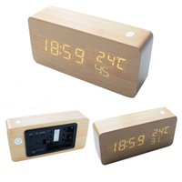 Wholesale Wood Clock Shiraki white new LED muting Sound Wooden temperature calendar alarm clock creative automatic brightness adjustment