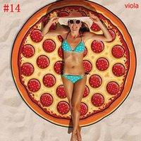 Lie Xaile Sexy No Donut Pizza Hamburger Redonda Toalha de Praia Bohemian Fina Chiffon Tecido Toalhas de praia Impresso Sofá Yoga Mat Mandala 15ocm