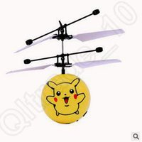 Wholesale 21 Designs Minions Pikachu Gyro Mini Sensor LED Light Flying Ball UFO Classic Electric Toys RC Flying Helicopter UFO Ball LJJC5186