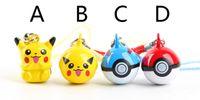 anime keychain figure - 50 Pikachu go figure pendants Anime Pikachu Poke Ball bells mini keychain bag phone straps
