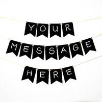 banner paper - 5m ft Paper Kraft Bunting Tag Party Banner Kraft Black Painted Blackboard Flag for Party Decoration
