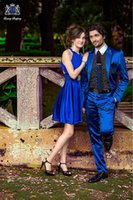 Wholesale Royal Blue Custom Made Cheap Man Groom Wear Silk polyester Tuxedos Wedding Groomsman Men Bridegroom Suits
