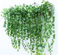 artificial green plants - Green Artificial Fake Hanging Vine Plant Leaves Garland Home Garden Wall Hanging Decoration IVY Supplies