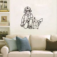 Peel & Stick animal sketch art - Poke wall sticker Ash Ketchum and pikachu cartoon sickers black white sketch stickers cm for kids room Decor T403