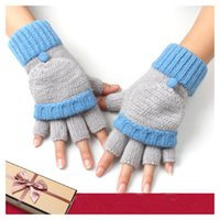 Wholesale Gloves half finger thick warm autumn and winter for women colorful many pattern fashion Blue Patchwork free size cotton to the wrist