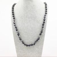 Wholesale ST0291 Vintage Boho Jewelry Fashion Long Necklace mm Black Labradorite knotted necklace length Women Stone neckalces