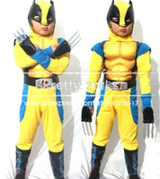 Wholesale New arrival novelty halloween cosplay costume chidren wolverine full set muscle performance clothing D