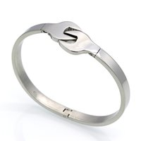 alloy wrench - Fashion Brand Design Bangles L Stainless Steel Bracelet Gothic Punk Retro Wrench Bangles Silver Jewelry Women And Men Gift