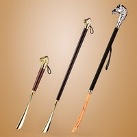 Wholesale Shoes Horns Long Brass Copper Horse Long Handle Shoehorn for Grilled Lion Shoehorn Lengthened Gift for Elders