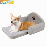 Wholesale Freeshipping Dog Bed Pet Soft Cushion Kennel Cute Paw Design Pet Sofa Gray Color Dog Sofa Dog House Winter For Pet Great Quality