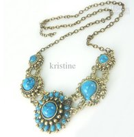 Wholesale 2016 vintage blue Swiss diamond pendant sunflower necklace women fashion jewelry price
