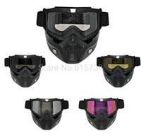 Wholesale Motorbike motocorss bike Goggles Glasses Face Dust Mask With Detachable Nose Face Gafa Motocross Helmet motorcycle mask goggle