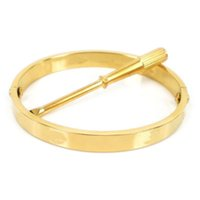 Wholesale Classic Brand K Rose Gold Plated L Stainless Steel Screw Bangle with Screwdriver Designer Bracelet Christmas Gift