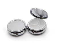3 compartments metal pill box - 10X Pill Organizer Box of Medicine DIY Silver Round Metal Boxes Pill Box for Pocket or Purse
